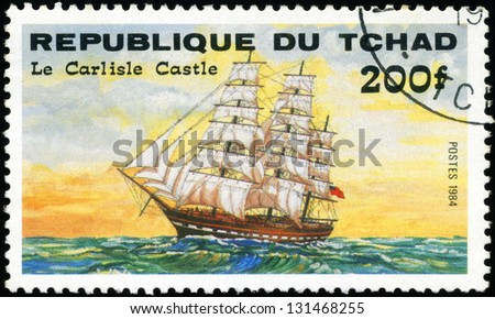 "REPUBLIC OF CHAD - CIRCA 1984: A stamp printed in Republic of Chad shows the ship ""Le Carlisle Castle"", series is devoted to sailing vessels, circa 1984 - stock photo"