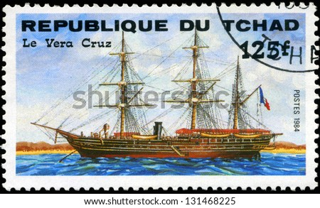 "REPUBLIC OF CHAD - CIRCA 1984: A stamp printed in Republic of Chad shows the ship ""Le Vera Cruz"", series is devoted to sailing vessels, circa 1984 - stock photo"