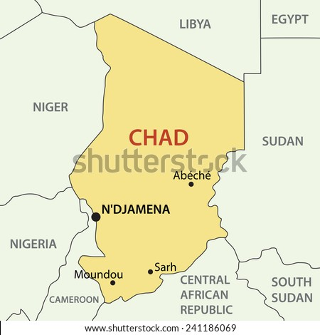 Republic of Chad - map - stock photo