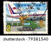 REPUBLIC OF CHINA (TAIWAN) - CIRCA 1986: A stamp printed in the Taiwan shows Airplane and Van (90th Anniversary of postage), circa 1986 - stock photo