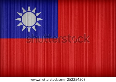 Republic of China(Taiwan) flag pattern on the fabric curtain,vintage style - stock photo