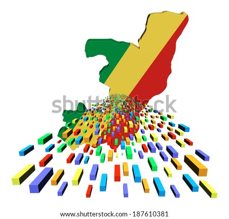 Republic of Congo map flag with containers illustration