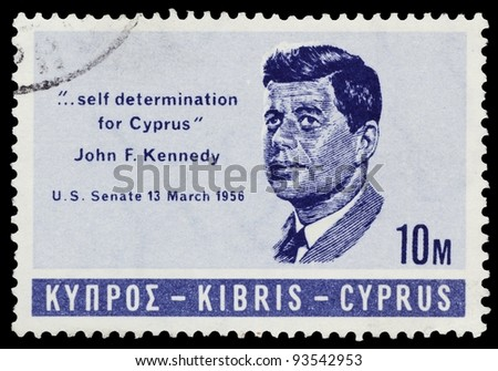 REPUBLIC OF CYPRUS - CIRCA 1957: A stamp printed in Cyprus features portrait of John F. Kennedy and citation from his speech in US Senate 13 march 1956, CIRCA 1957 - stock photo