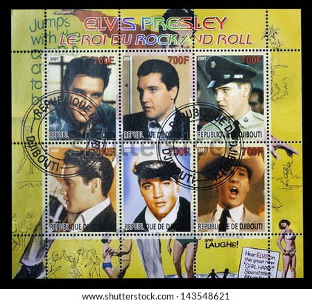 REPUBLIC OF DJIBOUTI - CIRCA  2007. A postage stamp printed in Republic of Djibouti shows A collection of pictures of  American singer Elvis Presley (1935-1977), circa 2007. - stock photo