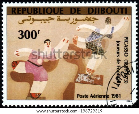 "Republic of Djibouti  - CIRCA 1981: A stamp printed in Republic of Djibouti shows paint by Pablo Picasso ""Football players"", circa 1981 - stock photo"