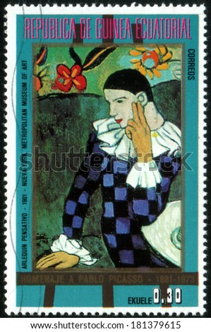 "Republic of Equatorial Guinea - CIRCA 1981: A stamp printed in Republic of Equatorial Guinea shows paint by Pablo Picasso ""Met-Seated Harlequin"", circa 1981"