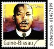 REPUBLIC OF GUINEA-BISSAU - CIRCA 2000: A postage stamp printed in the Republic of Guinea-Bissau showing Martin Luther King, circa 2000 - stock photo