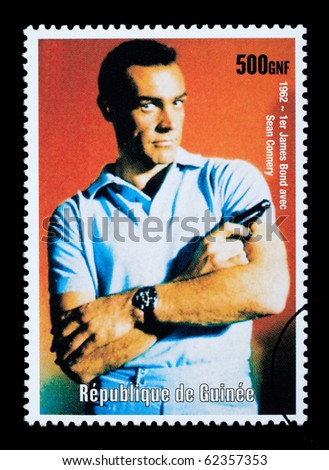 REPUBLIC OF GUINEA - CIRCA 2003: A postage stamp printed in the Republic of Guinea showing James Bond, circa 2003 - stock photo