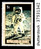 Republic of Guinea - CIRCA 1979: A stamp printed in Republic of Guinea honoring Apollo moon program, shows NASA photo from the Moon, one stamp from series, circa 1979. - stock photo