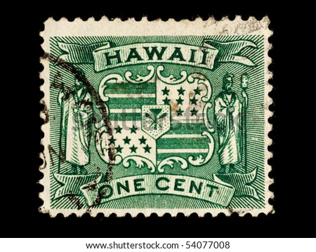 REPUBLIC OF HAWAII - CIRCA 1893- 1894: Postage stamp from the Republic of Hawaii depicting the Hawaiian Republic coat of arms, circa 1893 - 1894. - stock photo