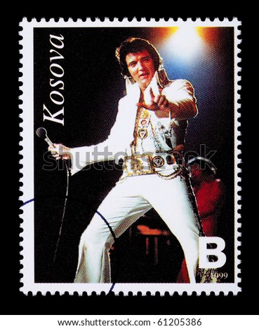REPUBLIC OF KOSOVO - CIRCA 1999: A postage stamp printed in the Republic Of Kosovo showing Elvis Presley, circa 1999 - stock photo