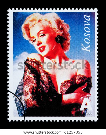 REPUBLIC OF KOSOVO - CIRCA 1999: A postage stamp printed in the Republic Of Kosovo showing Marilyn Monroe, circa 1999 - stock photo