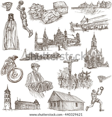 Republic of LITHUANIA. Travel series, pictures of life. Collection of an hand drawn full sized illustrations, freehand sketching.