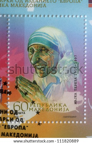 REPUBLIC OF MACEDONIA - CIRCA 2006: postage stamp printed in Macedonia showing an image of Mother Teresa,  circa 2006. - stock photo