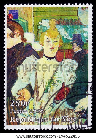 Republic of Niger - CIRCA 1998 A stamp printed in Republic of Niger shows a painting of La Goulue arriving at the Moulin Rouge by french painter Henri De Toulouse-Lautrec, circa 1998 - stock photo