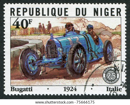 REPUBLIC OF NIGER-CIRCA 1981: Postage stamps printed in the Republic of Niger, dedicated to the 75th anniversary of the Grand Prix of France, depicts Bugatti, Italy, circa 1981 - stock photo