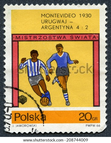 Republic of Poland - CIRCA 1966: A stamp printed in Republic of Poland  for World Cup Soccer Championships in Montevideo, 1930 - stock photo