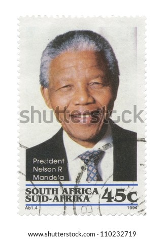 REPUBLIC OF SOUTH AFRICA - CIRCA 1994: A stamp printed in Republic of South Africa shows an image of Nelson Mandela, circa 1994 - stock photo