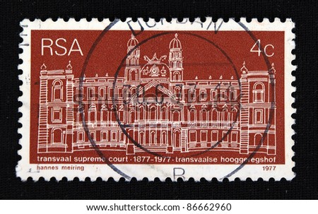 REPUBLIC OF SOUTH AFRICA - CIRCA 1977: A stamp printed in Republic of South Africa shows Parliament House, circa 1977