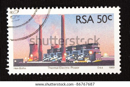 REPUBLIC OF SOUTH AFRICA - CIRCA 1989: A stamp printed in Republic of South Africa shows thermal electric power, circa 1989