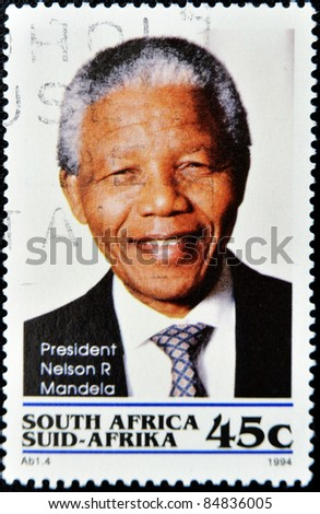 REPUBLIC OF SOUTH AFRICA - CIRCA 1994: A stamp printed in RSA shows Nelson Mandela, circa 1994 - stock photo