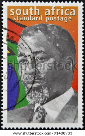 REPUBLIC OF SOUTH AFRICA - CIRCA 1999: A stamp printed in RSA shows Nelson Mandela, circa 1999 - stock photo