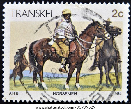 REPUBLIC OF SOUTH AFRICA - CIRCA 1984: A stamp printed in Transkei shows horseman, circa 1984