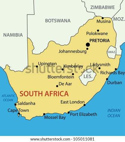 Republic of South Africa - map - stock photo