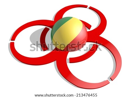 Republic of the Congo flag textured sphere in the center of biohazard alert 3d red sign. suitable for ebola and others pandemic cases - stock photo