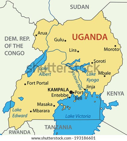 Republic of Uganda - map - stock photo
