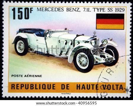 Republic of Upper Volta - CIRCA 1975: A stamp printed in Haute-Volta (now Burkina Faso) shows Mercedes Benz 7_1 L Type SS - 1929, series, circa 1975 - stock photo