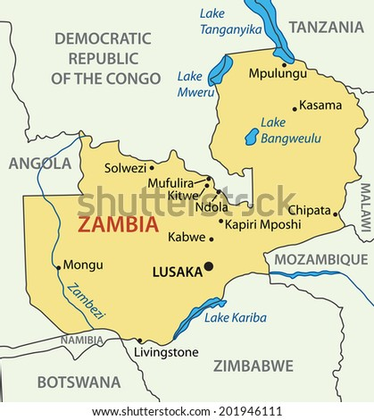 Republic of Zambia - map - stock photo