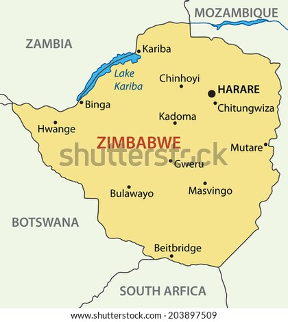 Republic of Zimbabwe - map - stock photo