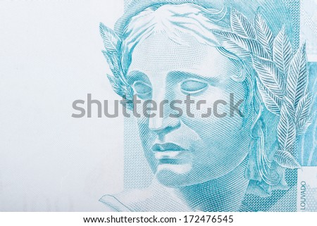 Republic's Effigy portrayed as a bust on Brazilian Real - stock photo