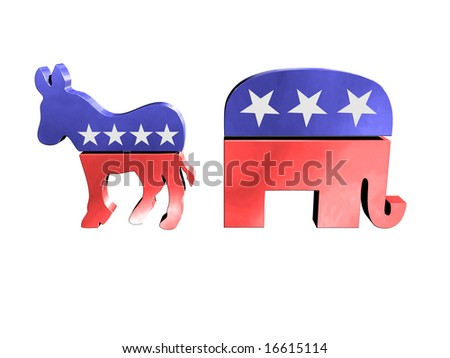 Republican and democrat symbols - stock photo