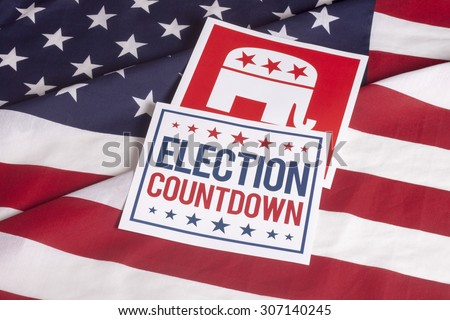 Republican election Countdown on textured American flag - stock photo