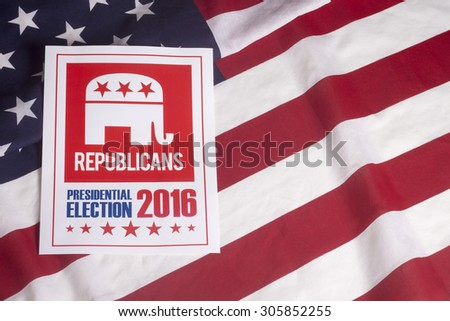 Republican election on textured American flag - stock photo
