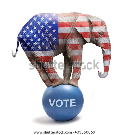 Republican elephant colored as a american flag balancing on blue ball. Big elephant going to elections. Digital artwork on political theme.  - stock photo