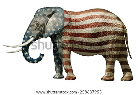 Republican Elephant Painted With Stars and Stripes - stock photo
