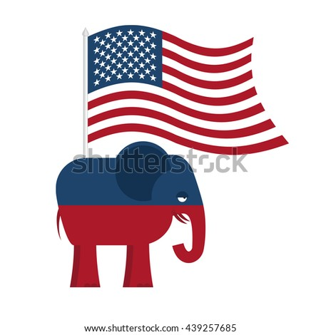 Republican Elephant. Symbol of political party in America. illustration for elections in United States. USA Flag