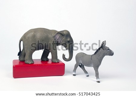 Republican Elephant wins the election upsetting the Democratic Donkey