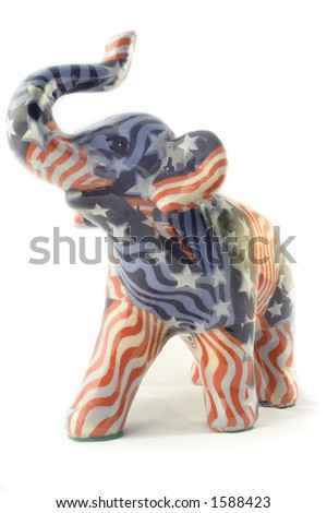 Republican Elephant with American Flag Pattern - stock photo