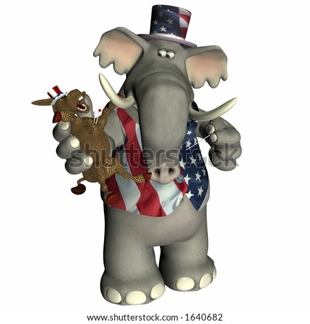 Republican Elephant with Donkey voodoo doll Political humor. - stock photo