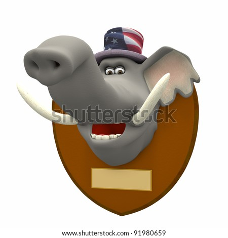 Republican Mounted. Elephant head mounted on a plaque. Blank brass plates for your text.  Political humor. - stock photo