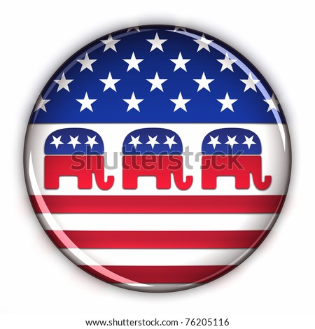 Republican Party button over white background - stock photo
