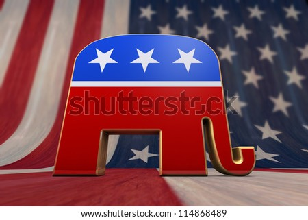 Republican Party Symbol on an American Flag Background - stock photo