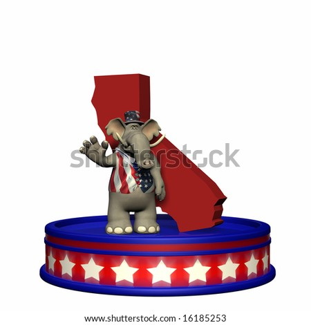Republican Platform - California GOP Political Elephant standing on a red, white, and blue platform in front of a 3D California. Isolated on a white background. - stock photo