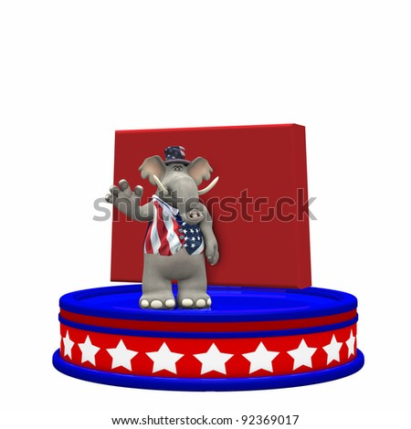 Republican Platform - Colorado Political Elephant standing on a red, white, and blue platform in front of a 3D Colorado. Isolated on a white background.