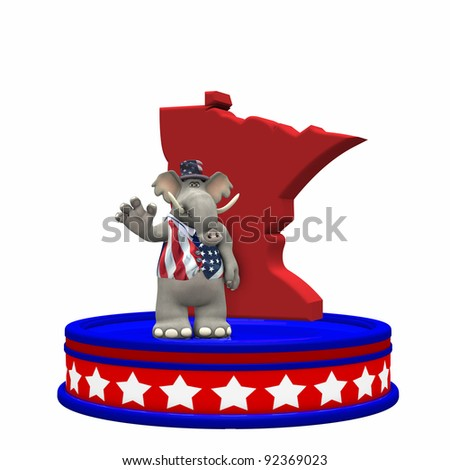 Republican Platform - Minnesota GOP Political Elephant standing on a red, white, and blue platform in front of a 3D Minnesota. Isolated on a white background. - stock photo
