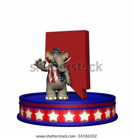 Republican Platform - Nevada. Political Elephant standing on a red, white, and blue platform in front of a 3D Nevada. Isolated on a white background.